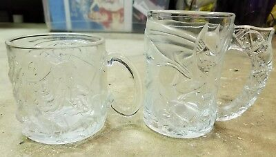 Vintage McDonalds Collectible Batman Forever Glass Mugs Glasses Clear Lot Of 2