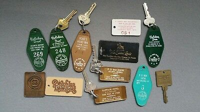 Lot Of 12 Vintage Hotel Motel Room Key Fobs Sc Nc Ga La Va Wv Pn