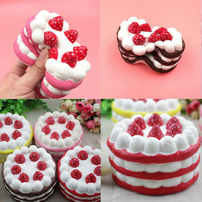 12CM Jumbo Squishy Strawberry Vanilla Cake Slow Rising Scented Bread Kids Toy