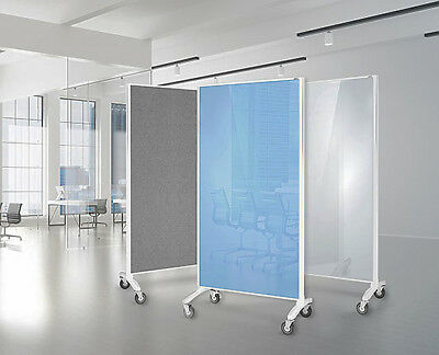 Office Screen Communicate Mobile Glassboard Room Dividers Pinnable 1800 x 900mm
