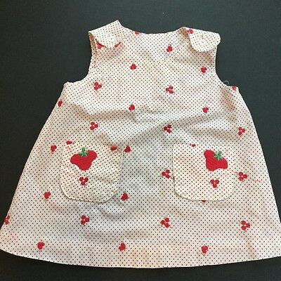 Vintage Toddler Girl Dress Strawberry Heart Pinafore 18 Months ? Polka Dot Red