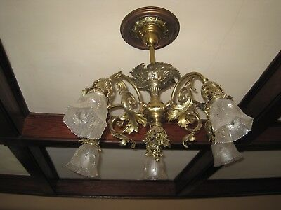 Antique Early Electric Brass Rococo Style 5 Light Chandelier, Light Fixture