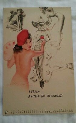 "Earl MacPherson Pin Up Calendar Page September 1944 ""Artist's Sketch Pad"""