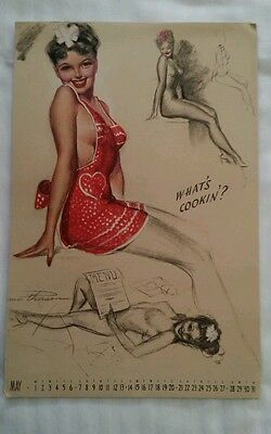 "Earl MacPherson Pin Up Calendar Page May 1944 ""Artist's Sketch Pad"""