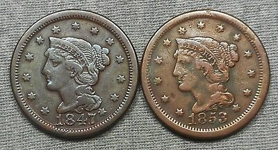 Lot Of 2 Braided Hair US Large Cents - 1847 & 1853
