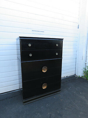 Tall Hollywood Regency Painted Black Chest of Drawers 8612