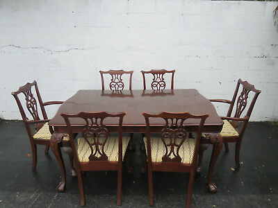 Chippendale Ball and Claw Feet Mahogany Set of Dining Table and Six Chairs 8623