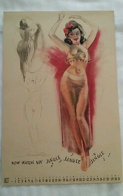"Earl MacPherson Pin Up Calendar Page October 1944 ""Artist's Sketch Pad"""