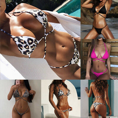 Women Sexy Leopard Bikini Set Push-Up Padded Swimwear Swimsuit Bathing Beachwear