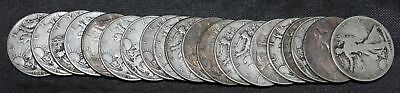 Roll of 20 Walking Liberty Half Dollars Assorted Dates Circulated 90% Silver