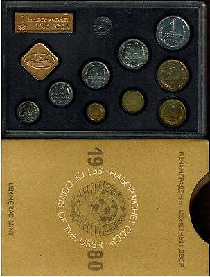 Russia Ussr 9-Coin Prooflike Set 1980 In Case Nice