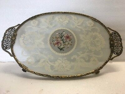 Vintage oval filigree vanity tray (petit point?) with mirrors, brushes, misc