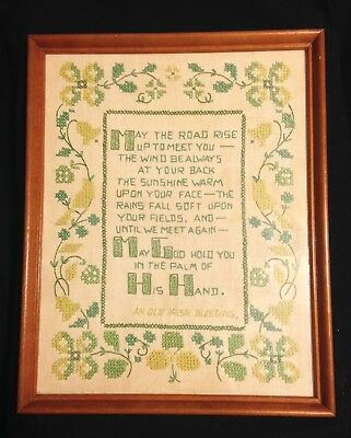 Vtg Old Irish Blessing May The Road Embroidery Sampler Ireland St Patrick's Day