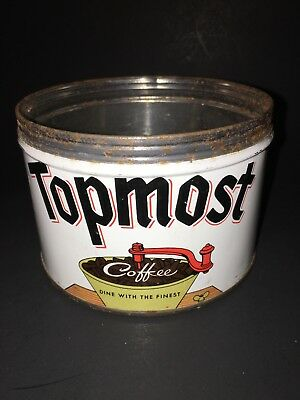 Vintage 1lb KEY WIND Coffee Tin Can Vivid Graphics TOPMOST by Canco USA 1950-60