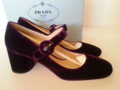 7a9880500a8b NEW PRADA MARY Jane Square Toe Velvet Block Heel Pumps Shoes Purple ...