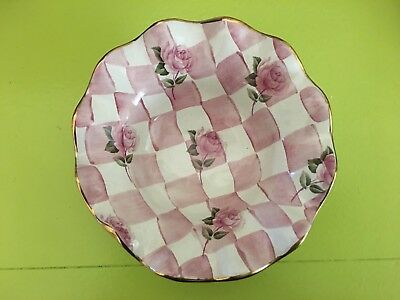 Mackenzie Childs Retired Rose Petal Fluted Berry Bowl