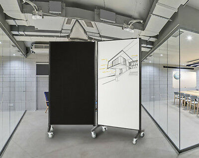 Office Screen Whiteboard Room Dividers Double Sided Magnetic / Pinnable Fabric