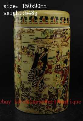 Old Chinese Colour Porcelain Pottery Palace Beautiful Woman Tea Caddy Pot