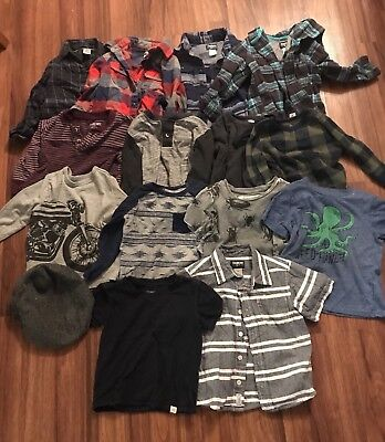 Boys 2t Top Lot Oshkosh Carters Old Navy  Flannels T-shirt's long sleeves Hat