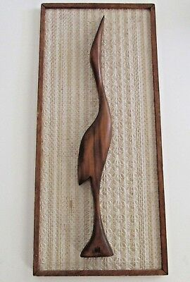 Elegant Vintage 1960s Mid Century Wooden Carved Crane Wall Art Possibly Asian
