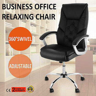 Leather Swivel Racing Gaming Office Chair Soft High Back Luxury Leather