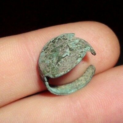 Uncleaned Ancient Roman Child Bronze Ring With Decoration  - 100 Ad