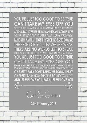 CAN'T TAKE MY EYES OFF YOU - ANDY WILLIAMS Anniversary Personalised Print A4