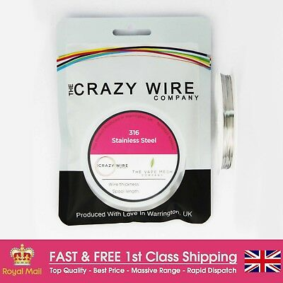0.4mm (26 AWG) - Comp SS316 (Marine Grade Stainless Steel) Wire - 6.14 ohms/m