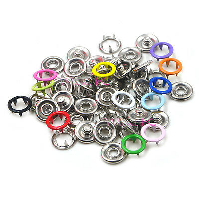9.5mm Prong Brass Open Ring No Sew Press Snaps Fasteners Button Nickel Rivet