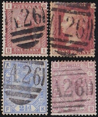 GB Used Abroad in GIBRALTAR A26 -  4 stamps.