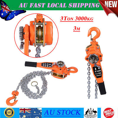 New Arrival 3 Ton 3000KG 3m Chain Lever Lift Hoist Block Manual Operated Use AU