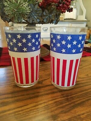 2 Vintage American Flag USA Drinking Glasses 1960's 1970's