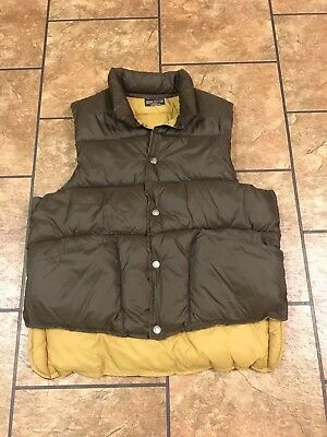 🔥Red Head Brown/Tan Vest Reversible Puffy Quilted Ski Vest Mens L Vintage 🔥