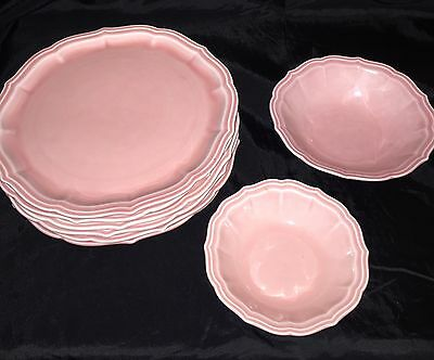 """W.S. George China """"Rainbow"""" Pink ~ 6 Luncheon plates ~1  cereal & 1 fruit bowl"""