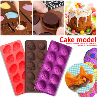 10 Easter Egg Silicone Chocolate Mold DIY Baking Biscuit Cake Mold Random Colors