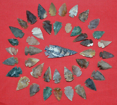 "42 PC Flint Arrowhead Ohio Collection Points 1-3"" Spear Bow Knife Hunting Blade"