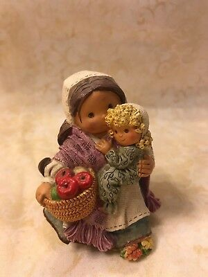 "Enesco Friends Of The Feather ""Fruitful Blessings"" Pilgrim Woman w/Child"