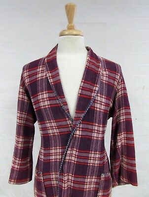 Vintage 40S Mens Beacon Robe Plaid Double Weave Piping Blanket Sz Med Purple