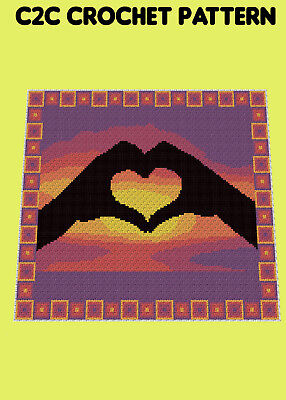 LOVING HANDS BLANKET - C2C/Graphghan Crochet Pattern