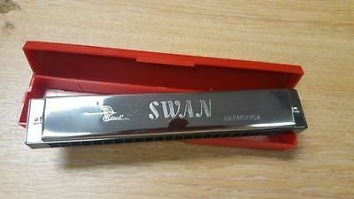 Swan Harmonica 24 Holes 48 tones C Key Silver + box New