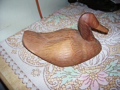 "Vintage Solid Wood Duck [Hand Carved] 11 "" Long"