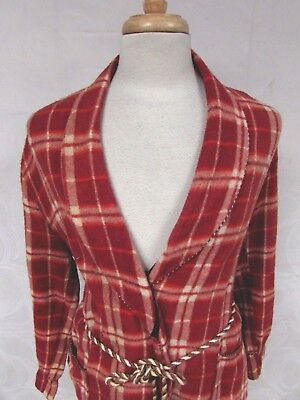 Vintage 40S Mens Beacon Robe Plaid Double Weave Piping Blanket Sz Med Belted