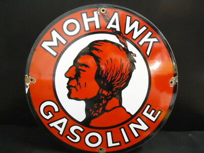 Old Vintage Mohawk Gasoline Porcelain Enamel Gas Pump Sign