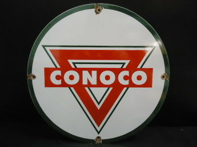 Vintage Old Conoco Gasoline & Oil Porcelain Enamel Gas Pump Sign