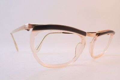 Vintage 50s eyeglasses frames gold filled brown brow made in France