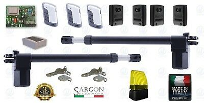 Swing Gate Opener Dual 2 Leaf Electric 230V 220V Full Kit Made In Italy 2 Remote