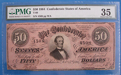 *very Nice 1864 Confederate States $50.00 Note - Graded 35 Pmg*