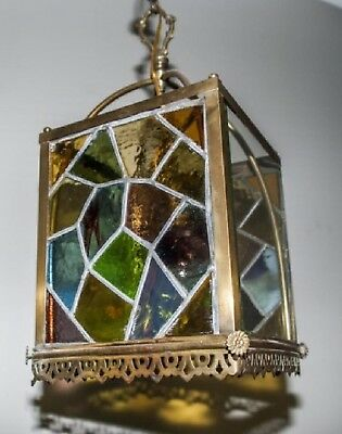 Vintage Antique Leaded & Stained Glass Aesthetic Hanging Fixture Hall Lamp