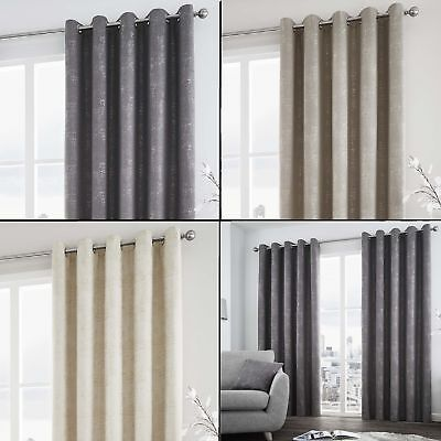 Solent Lined Eyelet Curtains With Silver Metallic Tones - Grey Cream