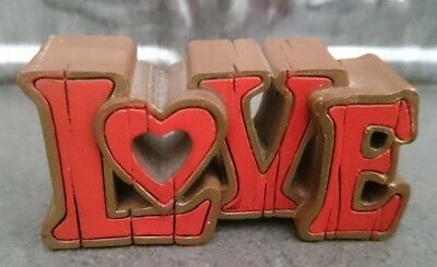 Vintage 1979 Hallmark Valentine LOVE Wood-Look Merry Miniature